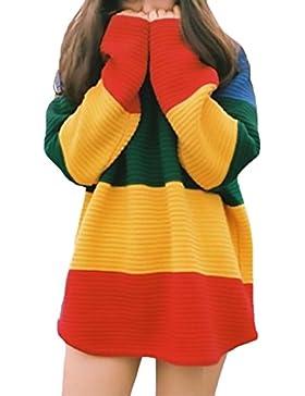 Lannister Fashion Las Mujeres Jersey Sudaderas De Punto Rayas Arco Iris Pullover Oversize Suelto Otoño Y Invierno...