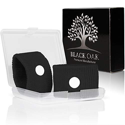 Black Oak [2 Stück] Akupressur Armband - hochwertige Akupressurarmbänder gegen Übelkeit - natürliche Alternative während der Schwangerschaft | wiederverwendbar -