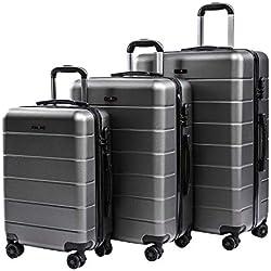 CarryOne Set de 3 Valises Coquille Légère Bagage avec 4 Doubles à roulettes Silencieuses | Combinaison de Serrure | Valise de Mode 19TC1-Gris(55cm,66cm,76cm)
