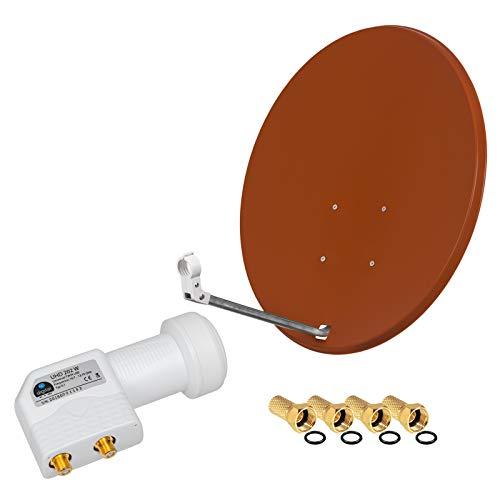 HD Digital SAT Anlage 80cm Spiegel Schüssel Ziegelrot + Twin LNB 2 Teilnehmer zum Empfang von DVB-S/S2 Full HD 3D Ultra HD (UHD) Signale + Stecker Gratis dazu im Set
