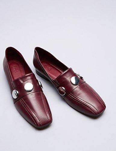 FIND Damen Leder-Slipper mit Nieten Rot (Red)