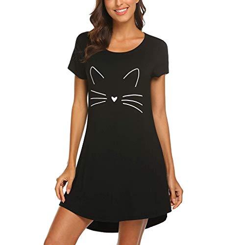 Loolik Camisón Mujer Verano Pijamas de Estampado de Gato Manga Corta Vestido de Dormir Camisa de Noche con Cuello Redondo para Mujer Camisónes (Negro,XL)