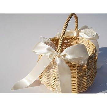 Blumenkinderkorb Streuk/örbchen zur Hochzeit Satinband altrosa Hochzeitsservice Marriage Day Blumenkinderk/örbchen natur