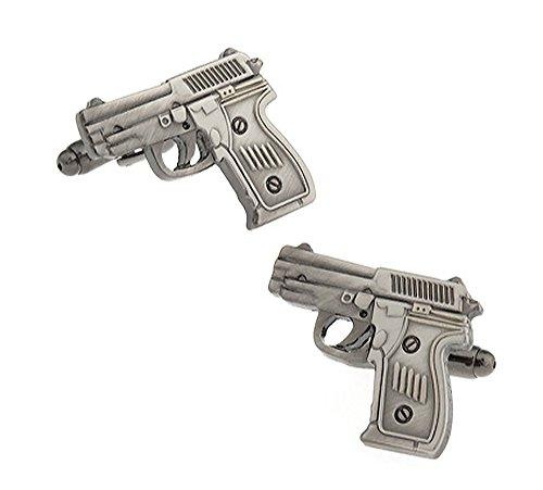 Ashton and Finch Boutons de Manchette pour Pistolet à Main de 9 mm Gris Mat dans Un Coffret de Gratuit Bijoux Fantaisie thème de tir