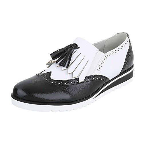 Ital-Design Klassische Halbschuhe Damen-Schuhe Oxford Moderne Halbschuhe Schwarz Weiß, Gr 38, 6592-P- - Oxford-schuhe Weiß