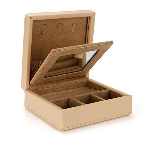 LELADY JEWELRY Ring Box Organizer Tablett mit Spiegel, Kleine PU-Leder Holz Ring Box Ohrring Halter, Kleine Reise-Schmuckschatulle mit Spiegel, Schmuck-Ring-Aufbewahrungsbox für Frauen Mädchen (Khaki) (Schmuckschatulle Mit Ring-halter)