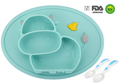 Baby Teller Schüssel Mini Silikon Tischset für Baby Kleinkinder und Kinder Tragbar Teller Baby Rutschfest Babyteller Tischset für die meisten Hochstuhlschalen(Kuh-2Cyan)