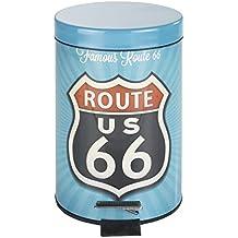 Wenko Vintage Route 66 Cubo Con Pedal 3 L, Acero, Multicolor, 17x17x275 cm