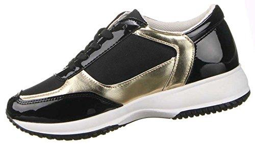 Damen Schuhe Lack Sneaker Freizeitschuhe Turnschuhe Laufschuhe , Weitere Farben: schwarz beige weiß rot, Weitere Größen: 36 37 38 39 40 41 Schwarz