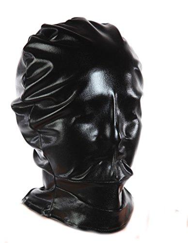 Blickdichte Bondage Lack Stoff Maske mit Reißverschluss (Wet-look Spandex-stoff)