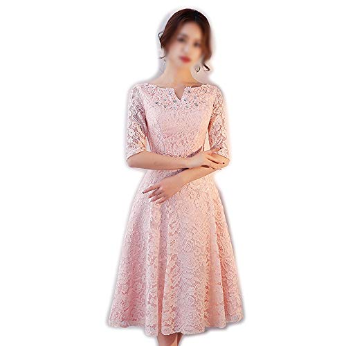 Fashion Frauen Lace (Rocke Brautjungfer Kleid für Frauen Fashion Lace Long Sleeves Perlen Party Bankett Kleid (Farbe : Rosa, Size : XS))