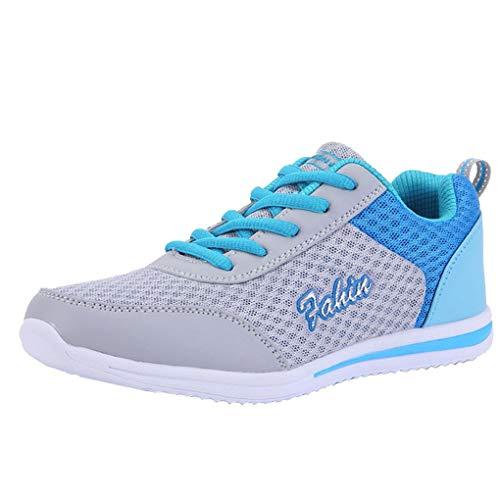 Dorical Sneaker Damen Classic Turnschuhe Sportschuhe Laufschuhe Outdoor Schnürschuhe Leichte Fitnessschuhe Straßenlaufschuhe Wanderschuhe Freizeitschuhe Atmungsaktiv Joggingschuhe(Blau,36 EU)