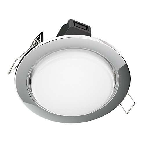 ledscom.de LED Foco empotrables Zobe Plano GX53 crómico Redondo 6.3W=40W 450lm Blanca...
