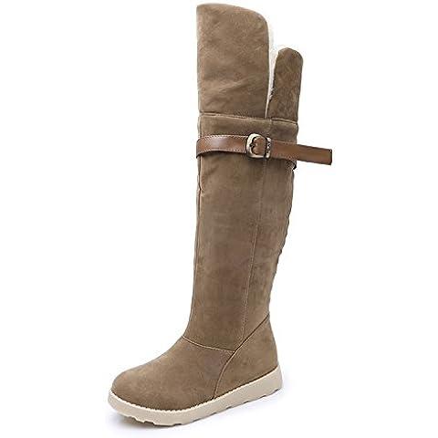SHIXR Damas invierno nieve Botas zapatos de hebilla plana con largo felpa cabeza redonda sobre las botas de rodilla , brown , 38