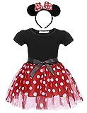 AmzBarley Vestito A Pois Bambina Principessa Tutu Abitini Ragazza Maniche Corte Vestiti Costume Festa Compleanno Halloween Cosplay Abiti Fascia per Capelli Orecchie da Topo