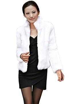 LuckyGirls ❤️• •❤️Chaqueta de invierno abrigo de piel sintética de mujer de invierno cálido abrigo de piel Parka...