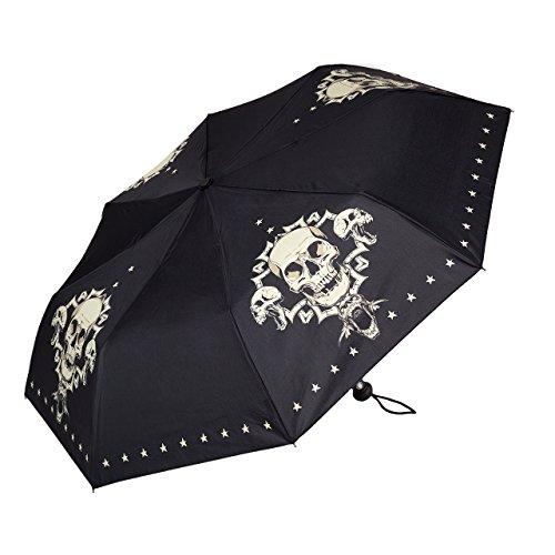 VON LILIENFELD Paraguas Bolsillo Plegable Mujer Hombres Automática Motivo Cráneo Skull