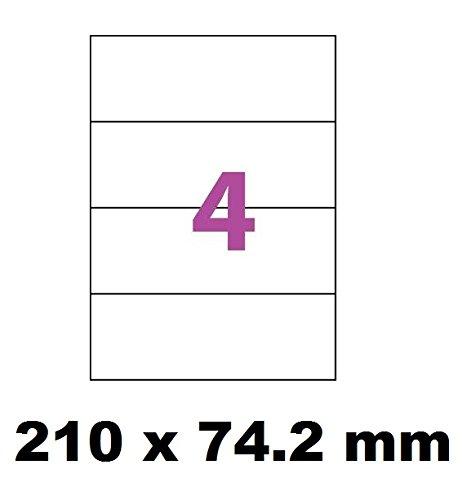 photo 2000 étiquettes 210 x 74 ( 74.25 ) mm soit 500 feuilles de 4 Étiquettes blanches adhésives personnalisables . étiquettes autocollantes pour imprimante jet d'encre et Impression laser .étiquette utilisable sur logiciels marque UNIVERS GRAPHIQUE UGE004V1