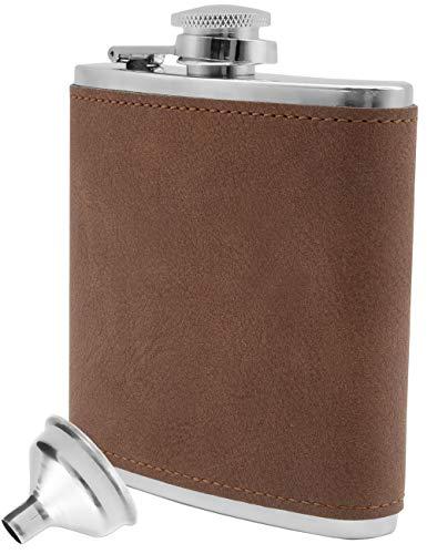 Outdoor Saxx® - Edelstahl Flachmann, edles Wild-Leder Design | Flagon Brust-Tasche Taschen-Flasche | gratis Einfüll-Trichter, Tolles Geschenk, 175ml, braun