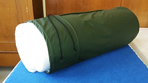 Reise-Matratzenauflage; 6 cm Viscoschaum und Matchsack olivgrün (Frottee weiss)