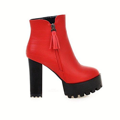 VogueZone009 Damen Rund Zehe Rein Niedrig-Spitze Hoher Absatz Stiefel mit Metallisch, Rot, 34