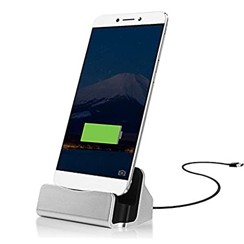 ONX 3 (Silber) Lenovo Z2 Plus Tisch-ladegerät USB-TYP C-Base Data Sync Ladestation Docking Station Stand