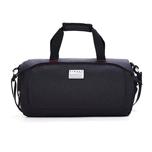 Tragbar Duffel Bag Travel Tote Sports Herren Handtasche Schultertasche für Frauen (mit Schuhfach) Schwarz