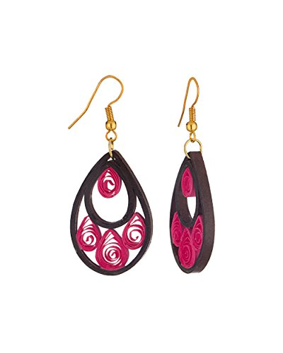 Voylla Pink Handmade Paper Quilled Drop dangler Earrings For Women  available at amazon for Rs.139