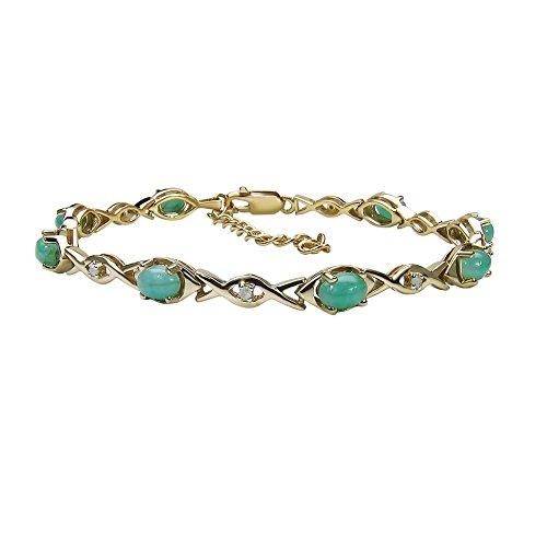 Goldancé - Bracciale da Donna argento sterling 925 placcati in oro vero Smeraldo - B507E_SGP