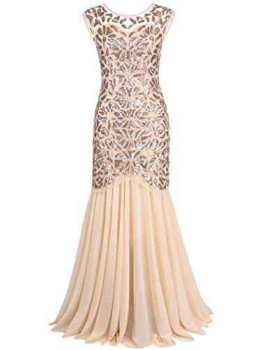 PrettyGuide Damen 1920s Schwarz Pailletten Gatsby Bodenlangen Abendkleid S champagner Champagner Oder Gold Kleider