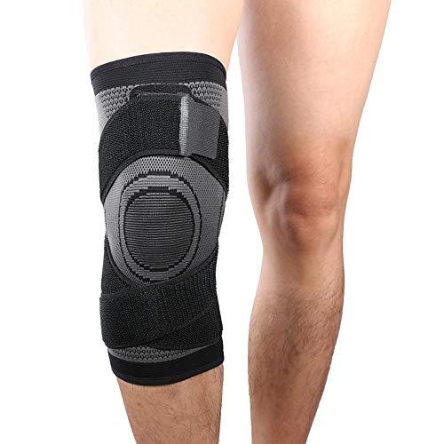 Vitoki Kniebandage Knieorthese Elastische Sportarten Knieschützer 1 Stück für Damen & Männer mit verstellbare Kompressionsgurte Grau XXXL