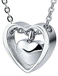 AnazoZ Colgante de Hombre Mujer Collar de Urna Collar de Cenizas Collar Acero Inoxidable Collar Negro Oro Plata Colgante Doble Corazón