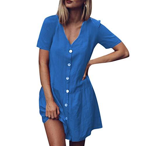 Sommerkleid Damen Elegant Kleider,Frauen Solide V-Ausschnitt Kurzarm Knöpfe Rüschen Saum Baumwolle Und Leinen Minikleid Von Evansamp(Blau,Xxxl) (Volle Größe-jersey-bettwäsche)