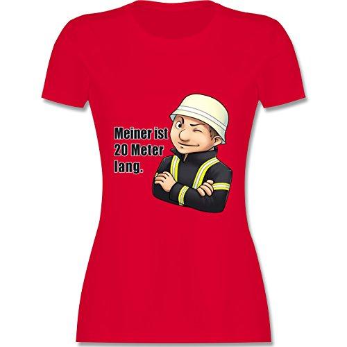 Feuerwehr - Feuerwehrmann - Meiner ist 20 Meter lang. - L - Rot - L191 - Damen Tshirt und Frauen T-Shirt