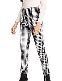 Huateng Cómodo Pantalones de Cintura Alta con Cremallera Pantalones  Pantalones Casuales a0a512eefc1a