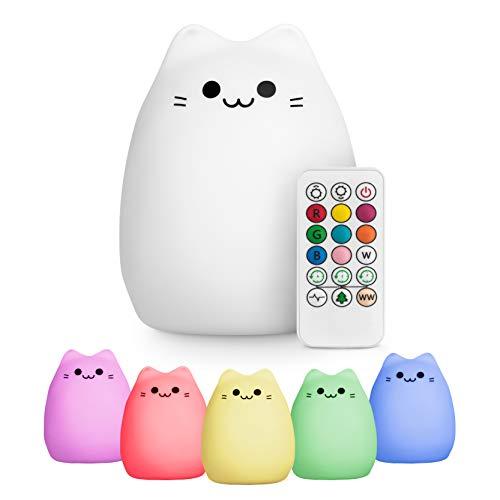 Lámpara de noche con forma de gato dulce es el regalo perfecto para tu hijo/a. La lámpara está hecha de una silicona suave y segura que no contiene sustancias tóxicas como el BPA. Por lo cual, el producto también es adecuado para los niños más pequeñ...