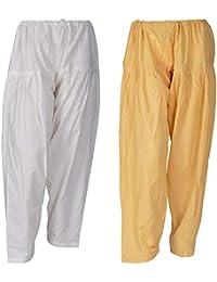 I Shop Women's Cotton Salwar (PATIALA-SALWAR-01234_Multicolour_Free Size) - Pack of 2