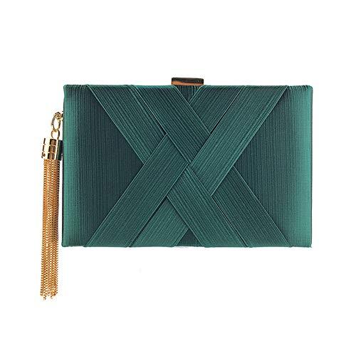 HKDUC Mode Metall Quaste Frauen Handtasche Kette Handtaschen Einzigartiges Design Criss-Cross Gewebt Abendtaschen Dame Geldbörse Tageskupplungen -