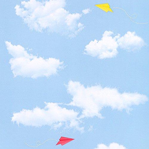 Zhzhco Selbstklebende Pvc-Tapeten Wilden 45Cm*10M (Blau Und Weiß) Kunststoff Wallpaper