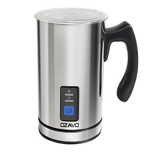OZAVO Montalatte Elettrico Montalatte Automaticoin Acciaio Inossidabile Controllo Temperatura Schiuma per Latte e Caffè Calda e Fredda
