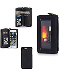 iPhone6 iPhone6S Portefeuille, DMX Premium En Cuir Zipper Wallet Multifonctionnel Sac à Main Amovible Magnétique Housse Etui pour iPhone 6 et iPhone 6S (iPhone 6 / 6S, Noir)