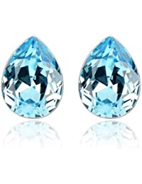 Silver Shoppee Dewdrop Rhodium Plated Crystal Alloy Stud Earring for Girls and Women
