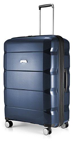 HAUPTSTADTKOFFER - Britz - Hartschalen-Koffer Koffer Trolley Rollkoffer Reisekoffer Erweiterbar, 4 Rollen, TSA, 75 cm, 115 Liter, Dunkelblau