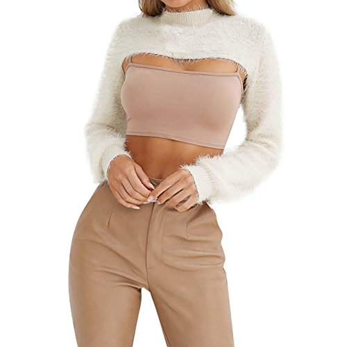 Damen Teddy Fleece Sweatshirt MYMYG Crop Pullover Ladies Terry Cropped Crewneck, Kurz Geschnittener Crop Top Pulli, Sweatshirt Einfarbig (Khaki,EU:42/CN-XL)