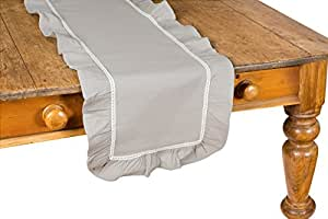 Xia Home Fashions Ruffle Trim Lace Table Runner, 16 by 54-Inch, Taupe with White