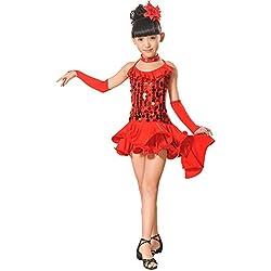 Jupe De Danse Fille,Daysing Enfant en Bas âGe Enfants Filles Latine Robe De Ballet Partie Costumes De Danse Danse De Salon