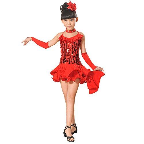 Wettbewerb Tier Kostüm - Lonshell Teenager Mädchen Tanzkleid 4-teiliges Set Tanz Kostüm mit Leggings Halskette Kopfschmuck 2-13 Jahre Kinder Performance Verschleiß für Lateinisches Salsa Tango Rumba