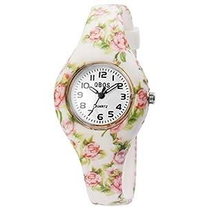 QBOS Kinderuhr Weiß Bunt Blumen Analog Metall Silikon Quarz Armbanduhr