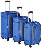 Amazon Brand - Solimo Blue Softsided Suitcase Set with Wheels, 78 cm +