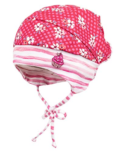 maximo Baby - Mädchen Mütze Kopftuchmütze 94500-028376, Gr. 45, Mehrfarbig (Richelieu-Weiß-Blumen 36)